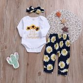 3Pcs Newborn Baby Girl Sunflower Top + Floral Pants + Hairband 3Pcs Newborn Baby Girl Sunflower Top + Floral Pants + Hairband – Dope Mommies