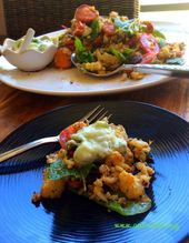 """Middle eastern roasted cauliflower salad with a cool cucumber & mint """"yoghurt"""" d…"""