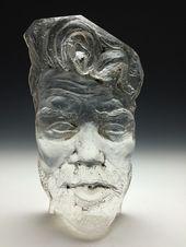 Cast glass face sculpture prism faceted suncatcher bust with ceramic pottery base portrait head