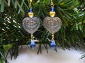 Victorian Blue Heart Earrings Artisan Jewelry Women's Gift for Her Spring Fashion Jewelry Beaded Office Jewelry Handmade Gift Idea for Mom