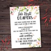 Printable Baby Shower Games Printable, Late Night Diapers Baby Shower Game, Floral Baby Shower Games, Instant Download Baby Shower Game Girl