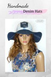 Denim hat, Blue Women's hat, Stylish hat, Travel Denim sun hat, Folding hat, Denim clothing – Women's summer hats