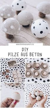 DIY mushrooms made of concrete - Creative and simple craft idea with concrete