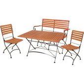 4-teilige Sitzgruppe Vienna Set 3 – Eukalyptus – mit Bankrollerwalze   – Products