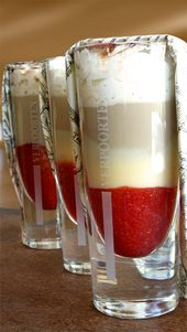 Ice coffee with strawberries and delicious eggnog – drinks, cocktails and long drinks with eggnog