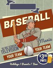 Baseball Game Invitation Flyer Poster Template Click To Customize Baseball Posters Poster Template Baseball