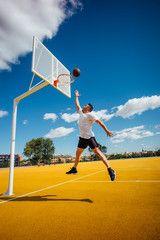 Man Playing Basketball On Yellow Court Dunking Ad Basketball Playing Man Dunking Court Ad In 2020 Basketball Stock Photos Photo