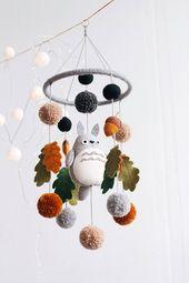 Cellular bébé-pépinière mobile-berceau mobile-pépinière décor-Totoro-bébé berceau mobile-lit mobile-cadeau de bathe de bébé-Totoro bébé cellular