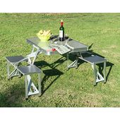 New Outside Transportable Folding Aluminum Picnic Desk four Seats Chairs Tenting w/Case