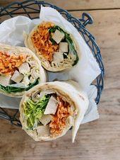 Wraps mit Erdnussbutter-Hummus und geriebenen Möhren   – Gesunde Rezepte