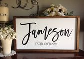 Last Name Sign, Family Name Sign, Established Sign, Above Couch Sign, Farmhouse Style Sign, Framed Sign, Wood Sign Saying