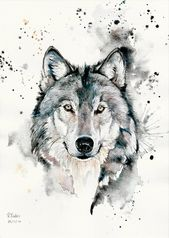 A5, A4, A3 Watercolor and Wolf Pen Original Art Print – Limited Edition