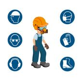 Worker With His Personal Protective Equipment And Security Icons  Vector Ilustration, Occupation, Protection, Professional PNG and Vector with Transparent Background for Free Download