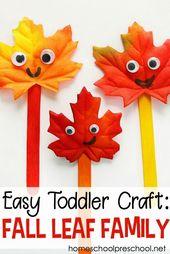 Mache ein einfaches Blatt-Handwerk für Kleinkinder und Kinder im Vorschulalter #craft #Leaf #preschooler …   – Crafts For Toddlers