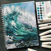 Sea landscape painted with alcohol markers. . Sun …