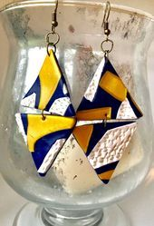 Nautical blue white & Gold Triangle Earrings, Statement Navy Blue earrings, Gift…