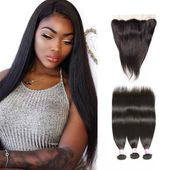 Beautyforever Hot Selling 7A Grade Unprocessed Straight Virgin Human Hair 3 Bundles With Lace Frontal Closure