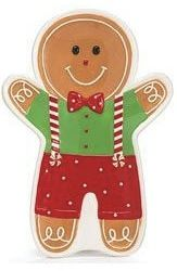 Gingerbread Man Plate Shaped Hand Painted Ceramic 9 X 6 Gift Boxed In A White Box Decorated With Men