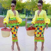 African women clothing for birthday/ Peplum blouse with balloon sleeves and skirt/ African print dress for wedding/Kente dress/ kitenge