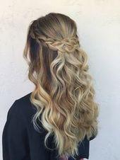 Elegante Braid Half Up Half Down Frisuren #promhairstyles #promhair #wavyhair #f… – Frisuren Ideen 2019