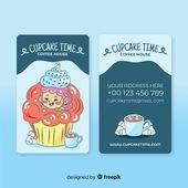 Illustrator Business Card Hand drawn kawaii character business card template | Free Vector