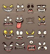 Cartoon Monster Gesichter. Vektorgrafiken illustratio … – #art #cartoon #clip #faces #illustratio