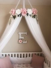 Aurora Baldachin – Serene Floral Krippe Baldachin / / Bett Krone / / Floral Mobile / / Kinderzimmer Dekor / / Tipi / / Baby Shower Geschenk / / Pink Pfingstrosen