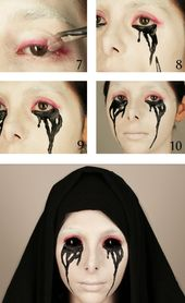 Add black contact lenses to Halloween makeup