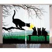 Red Barrel Studio Taylor Cat Mother Cat on Tree Branch and Baby Kittens in Park Best Friends I Love My Kitty Graphic Graphic Print & Text Semi-Sheer R
