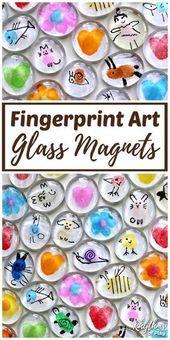 Fingerprint Art Glass Magnets Craft for Kids (VIDEO)