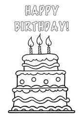 Clipart Cake Black And White No Candle Clip Art Library Birthday Card Printable Birthday Coloring Pages Happy Birthday Cards Printable