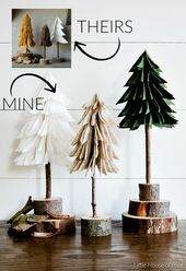 Simple and inexpensive felt Christmas trees, ideal to add a natural element to your holiday