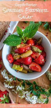 Peppered asparagus strawberry salad
