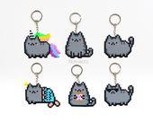 Pusheen die Katze Keychain Pixelkunst Pusheen Perler Hama bördelt 8bit Kawaii Miezekatze Unicorn Mermaid