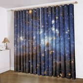 Anoleu Beautiful Galaxy Window Curtains Extra Wide Window Curtains