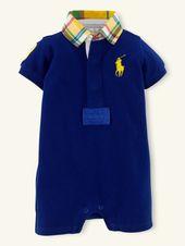 Preppy vêtements d'été pour bébé garçon Big Pony Solid Mesh Shortall – Layette One-P …   – Fashionable Baby Clothes for Boys