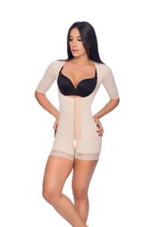 Braless full body short faja with sleeves and hook closure – Contour Fajas