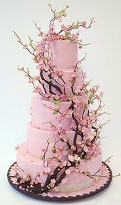 Cherry blossom wedding cake. This would be beautiful if the cake icing was white – Amazing Cakes