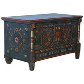 Antique Original Blue Painted Trunk from Romania, Dated 1883