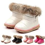 FEITONG Kids Baby Infant Boys Girls Child PU Leather Hairy Winter Bootie Keep Warm Snow Boots Shoes