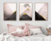 Instant Download Set of 3 Scandi Mountains in Blush Pink Black Gold Scandinavian Modern Triptych Bedroom Decor Poster Geometric Mountains