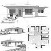 Bungalow Haus mit Walmdach Architektur & 3 Zimmer Grundriss rechteckig mit Erker…