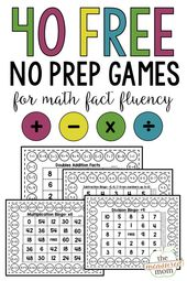 40 Free printable math games for math fact fluency – The Measured Mom