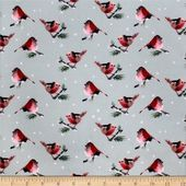 Camelot Fabrics Winter Woods Robins In Sage Green 100% Cotton (CAM Winter Woods Robin – Green)
