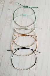Macrame bracelet with small silver beads NEW