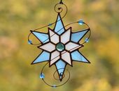 Stained glass Christmas snowflake, holiday star suncatcher for window, Christmas hanging decoration