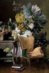 オランダのビンテージ花の壁紙壁画削除、暗い花の壁紙ピールアンドスティック壁紙花、自己接着壁紙リムーバブル#95   – Interior Design Ideen – Group