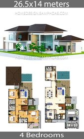 House Plans Idea 26 5x14 With 4 Bedrooms Home Ideas House Layout Plans Beach House Plans House