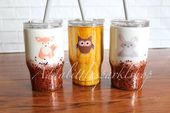 Glitter Tumbler, Woodland Animal Kids Cup, Choose Your Animal. Woodgrain, Glitte…   – Products
