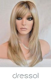 Geneigte Bang lange Colormix Straight Party synthetische Perücke - #colormix #inclined #party #straight #synthetic - -